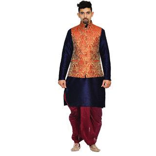 Inyour Men's Silk Navy Blue Kurta Maroon Dhoti With Red Waistcoat Set-Tr143-Kio-40