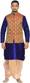 Inyour Men's Silk Royal Blue Kurta Gold Dhoti With Green Waistcoat Set-Tr-143-Pfg-44