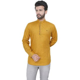 Trustedsnap Men's Cotton Full Sleeve Kurta(Dark Yellow)