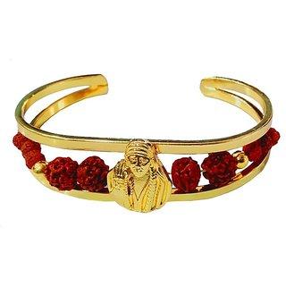 Men Style Lord Shirdi Sai Baba Elegant Premium Rudraksha Gold Brown Wood Brass Cuff