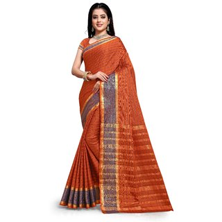 Aadyaa Creation Banarasi Cottan Silk Saree With Blouse