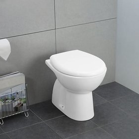 Inart Ceramic Floor Mounted Concealed European Water Closet/Western Toilet Commode/Ewc S Trap With Normal Seat Cover 55Cm X 36Cm X 41Cm - White