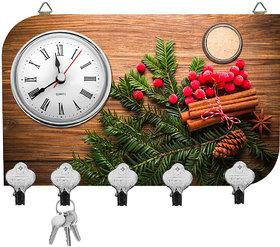 Kartik Fancy Print Matte Finish Key Holder With Clock - 14 X 21 X 0.5 Cm