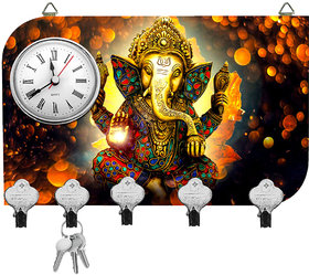 Kartik Fancy Ganesha Print Matte Finish Key Holder With Clock - 14 X 21 X 0.5 Cm