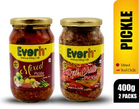 Everin Homemade Tasty Tangy And Ticklish Red Chilli And Mixed Pickle Combo (400G Each)