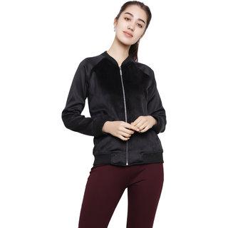 Dechen Women Full Sleeve Regular Fit Zipper Velvet Black Bomber Jacket