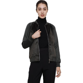 Dechen Women Full Sleeve Regular Fit Zipper Velvet Olive Bomber Jacket