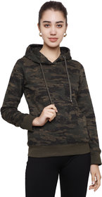 DECHEN Women Full Sleeve Camouflage Hooded Olive Sweatshirt