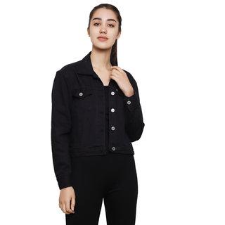 Dechen Women Full Sleeve Boxy Fit Buttons Cropped Black Denim Jacket