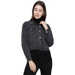 Dechen Women Full Sleeve Boxy Fit Buttons Cropped Grey Denim Jacket