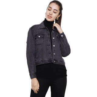 Dechen Women Full Sleeve Boxy Fit Buttons Cropped Fabric Patch Grey Denim Jacket