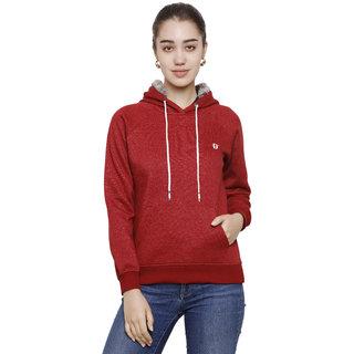 DECHEN Women Full Sleeve Fur Hoodie Maroon Sweatshirt