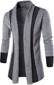 PAUSE Silver Solid Lapel Collar Slim Fit Full Sleeve  Cotton Blend Men's Cardigan