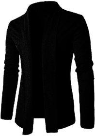 PAUSE Black Solid Lapel Collar Slim Fit Full Sleeve Men's Cardigan