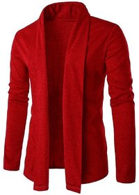Pause Men Red Flap Collar Cardigan