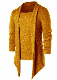 PAUSE Mustard Solid Lapel Collar Slim Fit Cotton Blend Full Sleeve Men's Cardigan