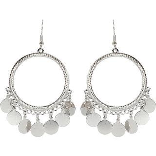 A1 Bhumika Trendz Sliver Fancy Oxidised Round shpe Drop  Dangle Earrings