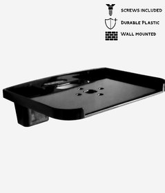 HK Black PVC Set Top Box Stand With 2 Remote Holder And 2 Screw free