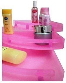 ECO KITCHENEXP UnBreakable Premium Quality Crystal Clear Corner Set Plastic Bathroom Corner Shelves (Pack of 3, Clear)