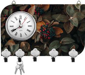 Kartik Fancy Leaves Print Wall Mounted Multi Color Matte Finish Key Holder with Clock - 14 x 21 x 0.5 cm