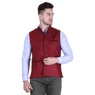 Starcollection Men's Maroon Silk Blend Self Printed Only Nehru Jacket