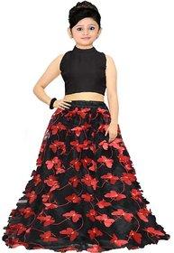 Femisha Creation Multi Color Net Latest Butterfly Design Kids Girls Party Wear Semi Stitched Lehenga Choli .