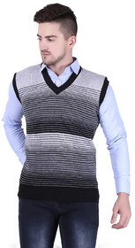 Starcollection Sleeveless Slim Fit Multicolor Sweater for Men,Grey Wool Sweater,Formal Use Sweater