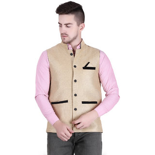 Starcollection Men's Waistcoat Jacket Jute Silk Self Design
