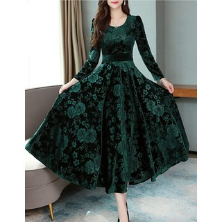 Westchic Green Floral Velvet Round Neck Full Sleeves Maxi A Line Dress