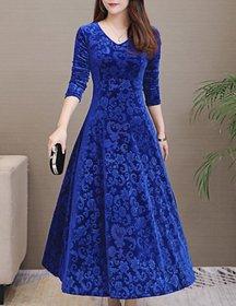 Westchic Blue Floral A Line Dress For Women