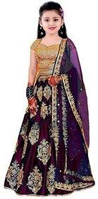 Femisha Creation Wine Color Taffeta Satin Heavy Embroidered Kids Girls Wedding Wear Semi Stitched Lehenga Choli .