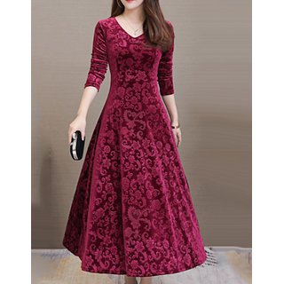 Westchic KF-Maroon Floral Velvet Long A Line Dress Women