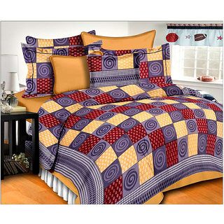 Frionkandy 180 TC Cotton Double Checkered Bedsheet With 2 Pillow Covers (Pack of 1, Gray) - SHKA1073