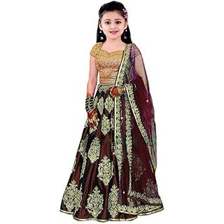 Femisha Creation Maroon Taffeta Satin Heavy Embroidered Kids Girls Wedding Wear Semi Stitched Lehenga Choli .