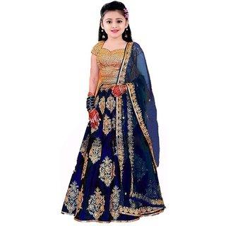 Femisha Creation Blue Taffeta Satin Heavy Work Designer Kids Girls Wedding Wear Semi Stitched Lehenga Choli .