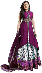 Today Deal Purple Taffeta Embroidered Semi Stitched Salwar Suit