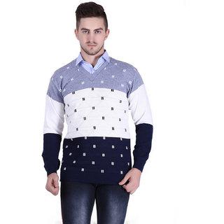 Starcollection Men's Striped Regular Fit Sweater Multicolor V Neck