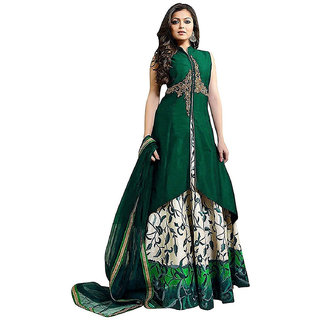 Today Deal Green Taffeta Embroidered Semi Stitched Salwar Suit