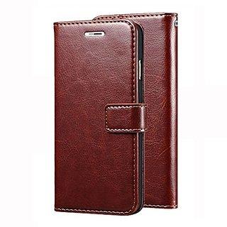 D G Kases Vintage PU Leather Kickstand Wallet Flip Case Cover For Motorola Moto c Plus - Brown