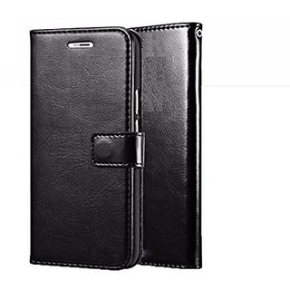 D G Kases Vintage PU Leather Kickstand Wallet Flip Case Cover For Gionee A1 Plus - Black