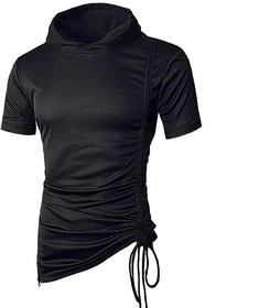 Pause Black Solid Round Neck Slim Fit Short Sleeve Men T Shirt