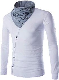 Pause Men White High Neck T-Shirt