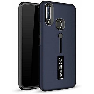 Qtek Dual Layer Tpu + Pc With Stand  Finger Holder Back Case Cover For Vivo U20- (Blue)