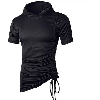 PAUSE Black Solid Round Neck Slim Fit Short Sleeve Men's T-Shirt