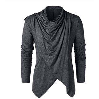 Pause Grey Plain Cotton Blend Flap Collar Casual T-Shirt For Men
