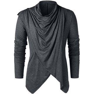 Pause Grey Flap Collar T-Shirt For Men