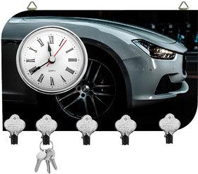 Kartik Fancy Car Print Wall Mounted Multi Color Matte Finish Key Holder With Clock - 14 X 21 X 0.5 Cm
