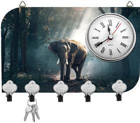 Kartik Fancy Elephant Print Wall Mounted Multi Color Matte Finish Key Holder With Clock - 14 X 21 X 0.5 Cm