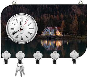Kartik Fancy Hut Print Wall Mounted Multi Color Matte Finish Key Holder With Clock - 14 X 21 X 0.5 Cm