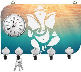 Kartik Fancy Ganesha Print Wall Mounted Multi Color Matte Finish Key Holder With Clock - 14 X 21 X 0.5 Cm